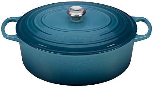 Le Creuset LS2502-356MSS Signature Enameled Cast-Iron Oval French (Dutch) Oven, 9.5 Quart, Marine