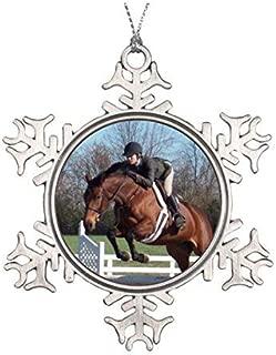 Delia32Agnes Hunter Jumper Horse Ornament Pewter Snowflake Ornaments for Christmas Decoration