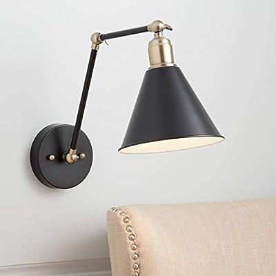 Wray Industrial Wall Lamp Black Antique Brass Hardwired Light Fixture Adjustable for Bedroom Bedside Living Room Reading - 360 Lighting