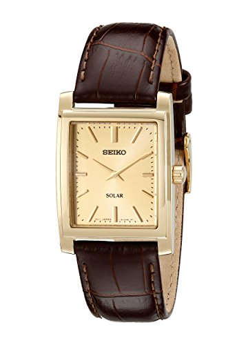 Seiko Men's SUP896 Gold-Tone and Brown Leather Solar-Power Dress Watch