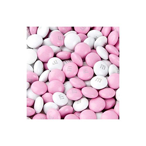M&M's Light Pink & White Milk Chocolate Candy 5LB Bag