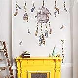 Plumas voladoras jaula de pájaros pegatinas de pared de flores decoración del hogar sala de estar dormitorio tatuajes de pared diy mural art poster