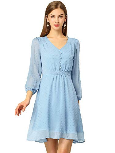 Allegra K Women's Swiss Dots Elastic Waist 3/4 Sleeve A-line Solid Flowy Chiffon Dress Large Blue