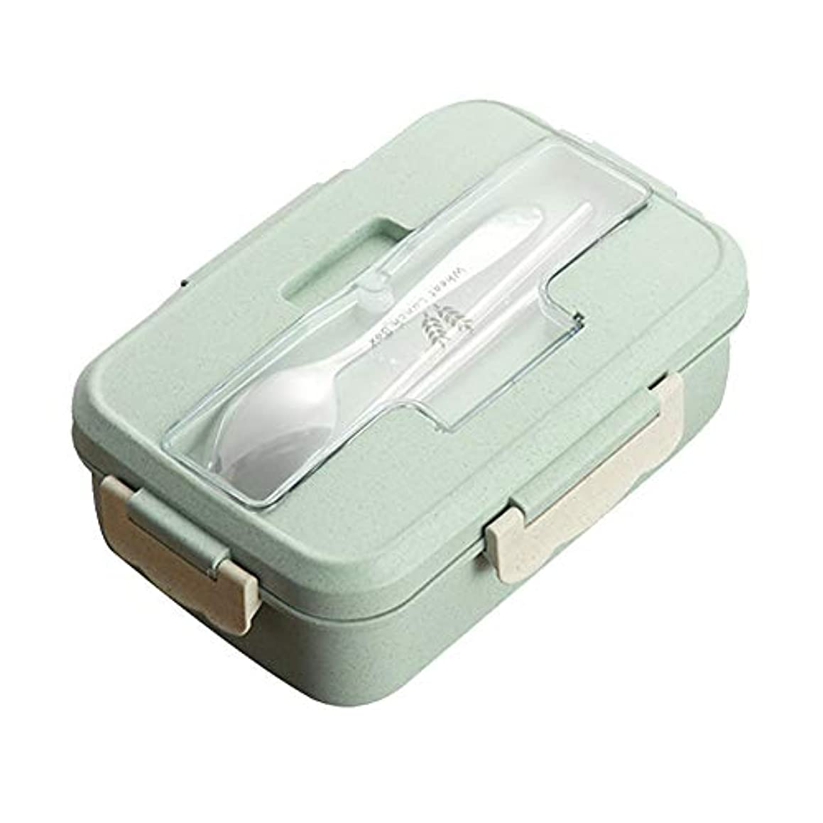 everd1487HH 1000ml Bento Lunch Box Spoon Chopstick Set Wheat Straw Food Storage Container - Green