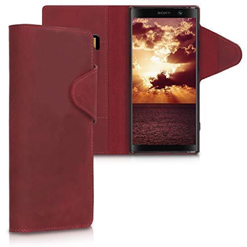 kalibri Sony Xperia XA2 Plus Hülle - Leder Handyhülle für Sony Xperia XA2 Plus - Dunkelrot - Handy Wallet Case Cover