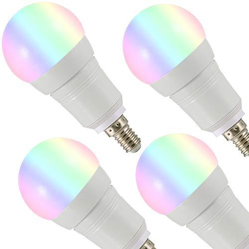 JUMRO Lampadina WiFi Intelligente LED Smart Dimmerabile 7W 700Lm, E26/E27/B22/E14 Multicolore Lampadina Compatibile con Alexa, Google Home E IFTTT, RGB Colore Cambiante Lampadina, 4 PCS,E14