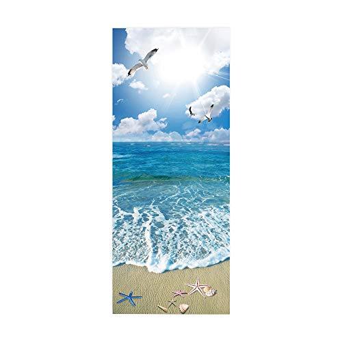 Yelilad Türtapete Selbstklebend TürPoster Türaufkleber 3D Wohnzimmer Schlafzimmer Badezimmer Wasserdicht Abnehmbare Professionelle Vinyl Upgrade, Sunny Blue Seascape Strand Möwe 77x200 cm