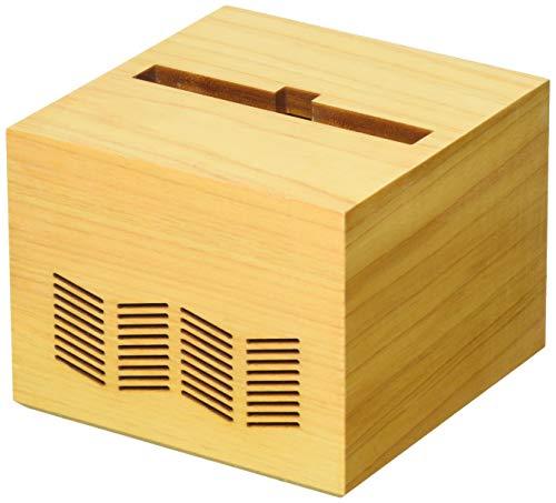 La-Luz ラ・ルース クウキコレクション キューブ 電源不要スマホスピーカー ヒノキ材 109324 ナチュラル w95×d95×h77mm