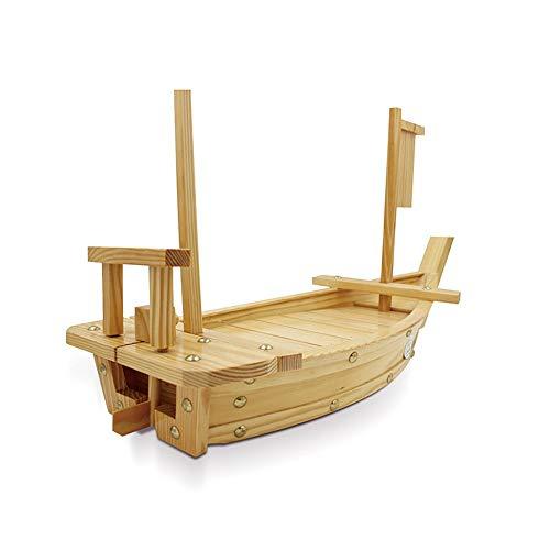 Senmubery - Vassoio da portata in legno, grande, per sushi, barca, 50 cm, per ristorante