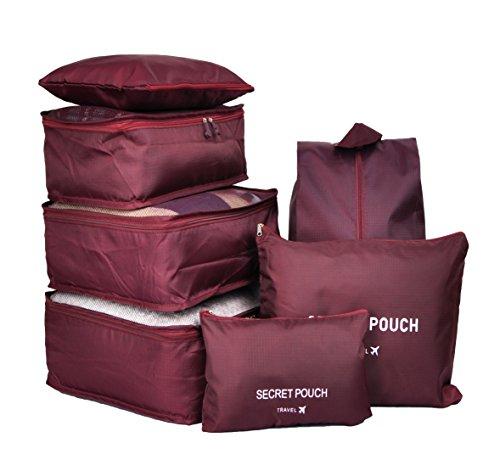 7 Set Travel Cubes,5 Colors Waterproof Mesh Durable Luggage Packing Organizers,1 Travel Shoe Bag,6 Set Packing Cubes (Burgundy)