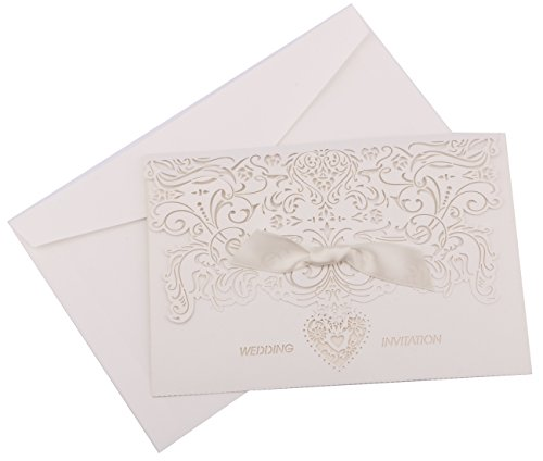 DriewWedding 20PCs Lace Wedding Party Invitation Cards, Hollow Pattern Greeting Invites Cards with Shimmer Inner Sheet, Envelopes & Ribbon for Marriage Engagement Birthday Bridal Shower