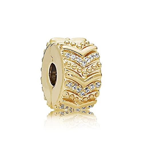 LILANG Pulsera de joyería Pandora 925, posicionamiento de Oro Natural, Hebilla Fija, Hebilla de Seguridad de Cristal,Encantoextraíble Original paraMujeres, Regalos de Bricolaje