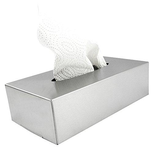 com-four® Caja para Pañuelos de Papel de Acero Inoxidable – Dispensador
