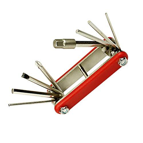 Naisicatar Fahrrad-Reparatur-Set, 9-in-1, für Fahrräder, Reparaturset, Fahrrad-Reparatur, Reparatur-Set, Rot, 1 Stück