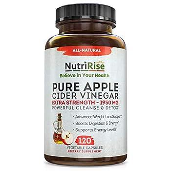 Apple Cider Vinegar Capsules - 3X Potency 1950mg - Weight Loss Detox & Cleanse - Diet Pills for Women & Men Keto Belly Fat Burner Appetite Suppressant Energy Supplement Immune Support