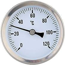 Nrpfell TermóMetro BimetáLico TermóMetro de Tubo Rango de 63 Mm 0-250 Grados F / -20-120 Grados C, PrecisióN del 2%