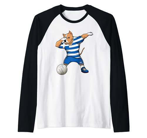 Dabbing Pit Bull Grecia Voleibol Fans Jersey Grecia Deporte Griego Camiseta Manga Raglan