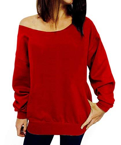 Dutebare Women Off Shoulder Sweatshirt Slouchy Shirt Long Sleeve Pullover Tops Red a XL