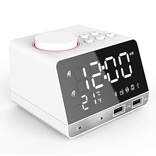 Altavoz Bluetooth con Despertador Digital LED Y Radio FM Altavoz con Radio Despertador Bluetooth con 2 Puertos USB Negro