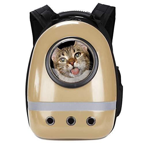 Glenmore Mochila para Mascotas Aire Libre Mochila Portátil para Mascotas Bolsa de Viaje Cápsula Espacial Transparente Transpirable Mochila Delantera Paquete, Dorada