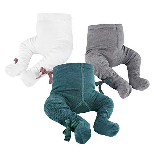 Baby-Strumpfhose für Babys, Kleinkinder, Mädchen, Neugeborene, Kinder, nahtlos, Baumwolle Gr. 0-6 Monate, Grün&Weiß&Dunkelgrau