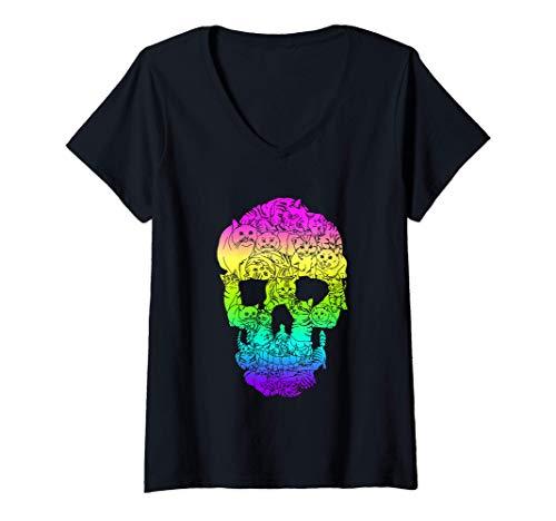 Mujer Gato Cráneo Gatito Esqueleto Bruja Bruja Pastel Gótico Camiseta Cuello V