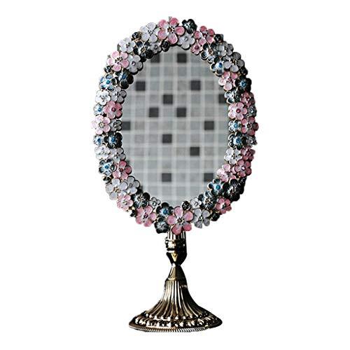 Miroirs De Maquillage Rétro Européenne Recto Recto en Métal Peint à La Main Mignon Bureau Princesse Vanity (Color : A, Size : 16.5 * 32cm)