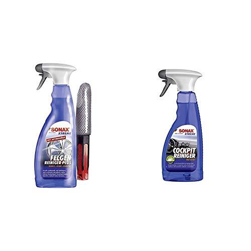 SONAX Xtreme Felgenreiniger Plus säurefrei (750ml) Felgenbürste & Xtreme CockpitReiniger Matteffect (500 ml) Reinigung und Pflege für alle Kunststoffoberflächen im Autoinnenraum
