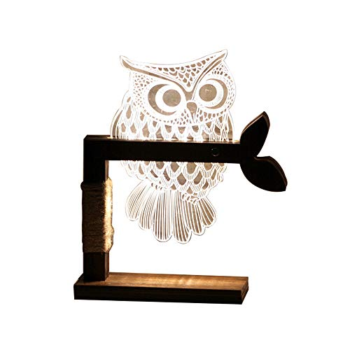 LED Dimmbar Shen Shuai Tischleuchte - 3D Visual Acryl Eule Deco Holz Nachttischlampe - Warmweiß Nachtlicht - Geschenk für Kinderzimmer Schlarfzimmer