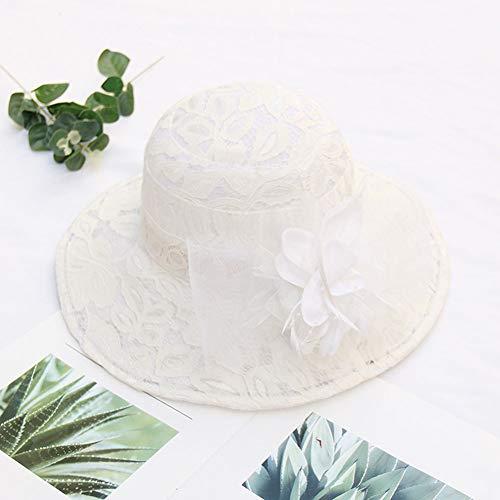 GQ Organza Hut Sonnenhut breiter Krempe Spitze Mesh Sonnenschutz UV-Schutz Floral Schatten Hut Kirche Hüte für Frauen Organza Tea Party Hochzeitskleid Cap,White