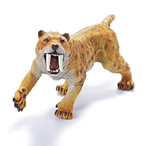 HZPXSB Kinderspielzeug Weichplastik Simulation Prähistorisches Tiermodell, Kinderfigurenschmuck, Geschenke für Jungen, Säbelzahntiger