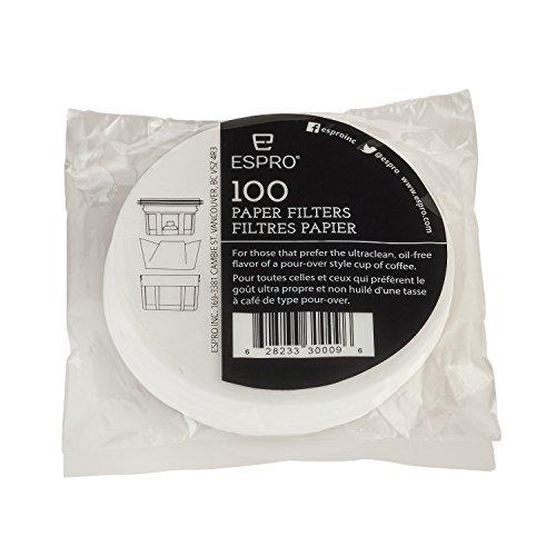 Espro 100 Kaffeefilter aus Papier für alle Espro Reisepressen P1/P0, 12/16 Ounce schwarz