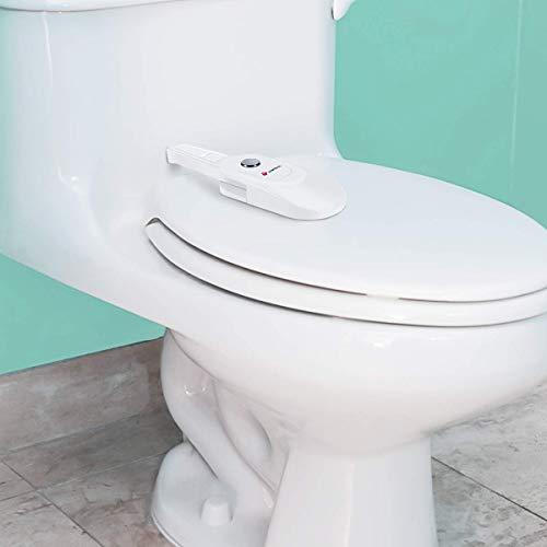 Eurobuy Baby-Sicherheits-Toilettenschloss, kindersicher, einfache Einhandbedienung, Sicherheits-Toilettensitz-Deckelschloss mit Viskosität-Kleber, passend für die meisten Toiletten
