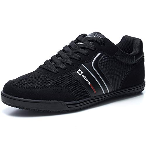 Alpine Swiss Liam Mens Fashion Sneakers Suede Trim Low Top Lace Up Tennis Shoes BLK 12 M US
