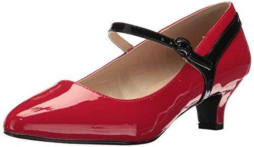 Pleaser Pink Label Fab-425 Fab425/R-b Robe pour Femme Rouge - Rouge - Rouge et Noir breveté, 40 EU