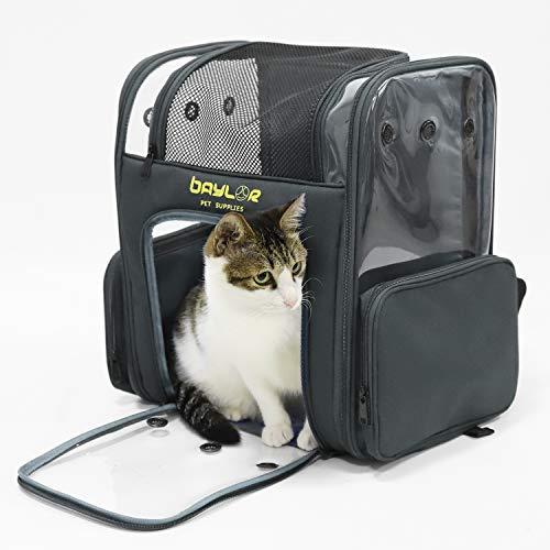 bingopaw 猫キャリーバッグ リュック 大型 2匹 大容量 透明 ペットキャリーケース うさぎ/小型犬/鳥 9kg以下 猫リュック大きめ 車用 折りたたみ おしゃれ