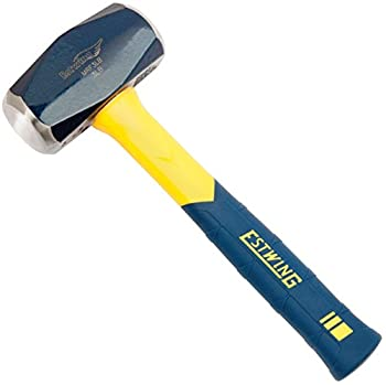Estwing Sure Strike Drilling/Crack Hammer - 3-Pound Sledge with Fiberglass Handle & No-Slip Cushion Grip - MRF3LB Blue/Yellow