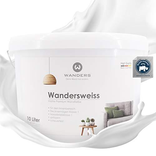 Wanders24®️ Wandersweiss (10 Liter, Weiß) Wandfarbe weiß hohe Deckkraft - Wandfarbe weiss - DIN13300 - Deckv. 1 - Nassab. 1 - Made in Germany
