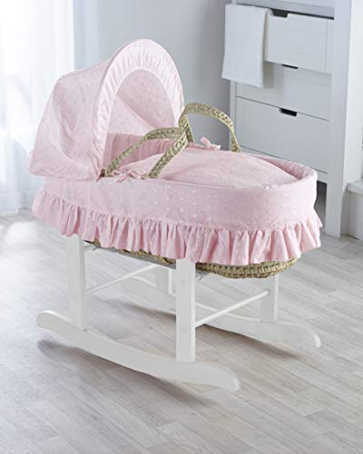 Pink Broderie Anglaise Palm Moses Basket & Deluxe White Rocking Stand