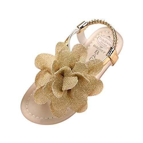 Hausschuhe Kinder Sommer Kinder Kleinkind Kinder Baby Mädchen Bling Bogen Prinzessin Hohl Sandalen Schuhe Trecking Sandalen Sandalen Pink-Pwtchenty (Gelb, 35)