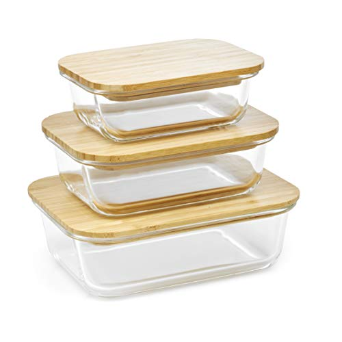 Homiu Food Storage Glass Container with Smooth Bamboo Lid Impact Resistant Airtight Leak-Proof Oven and Freezer Safe 3 Pack