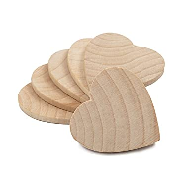 1-1/2  Wood Hearts, Natural Unfinished Wood Heart Cutout Shape, (1.5 Inch), Wooden Heart (1-1/2 Inch Tall x 1/8 Inch Thick) - Bag of 100