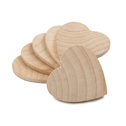 """1-1/2"""" Wood Hearts, Natural Unfinished Wood Heart Cutout Shape, (1.5 Inch), Wooden Heart (1-1/2 Inch Tall x 1/8 Inch Thick) - Bag of 100"""