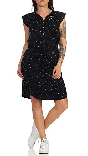 Ragwear ZOFKA Dress Organic Damen,Kleid,Blusenkleid,Sommerkleid,ärmellos,vegan,Knopfleiste,Brusttaschen,Tunnelzug,Black,S