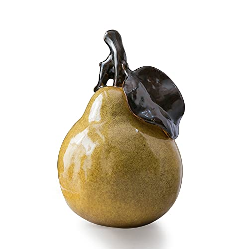 Kendiis Statue Decor Originality Home Decoration Pear Ceramic Collection Small Crafted Figurines for Home Decor Accents, Living Room Bedroom Office Decoration, Book Shelf TV Stand Decor