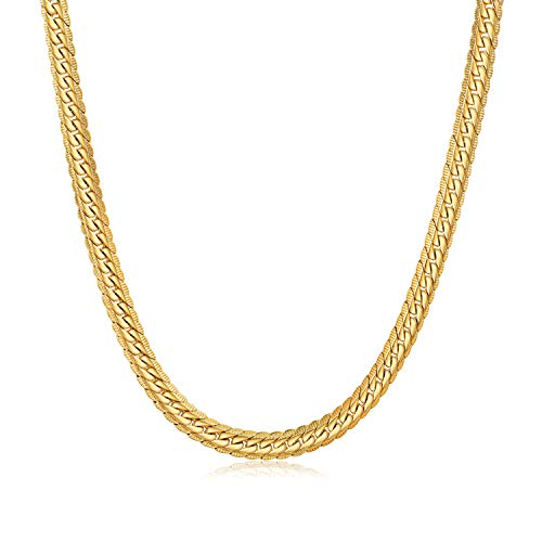 WINNICACA 24K Gold Plated Italy Necklace for Men Gold Cuban Hip Hop Chain Nekclace for Women Fashion Jewellery Birthday Christmas Friendship Gifts 18inches,6mm Wide Unisex