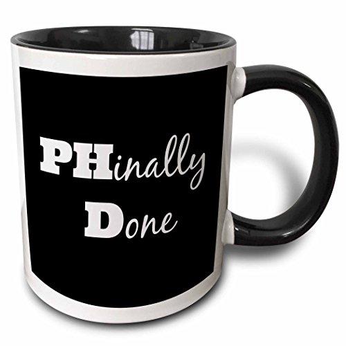 3dRose Phd, Phinally Done Mug, 11 oz, Black