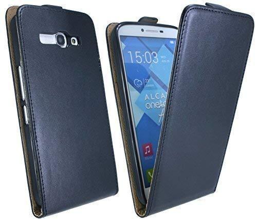 ENERGMiX Handytasche Flip Style kompatibel mit Alcatel One Touch POP C9 7047D in Schwarz Klapptasche Hülle