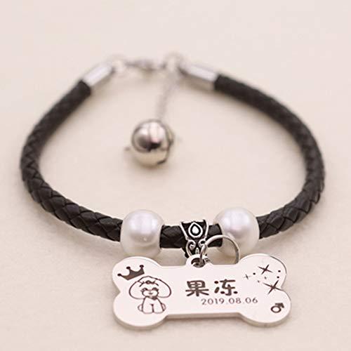 FAPROL Collar De Gato con Placa De Nombre De Hueso Grabado Personalizado Etiquetas De Acero para Mascotas para Perros/Gatos, Collares para Mascotas De Estilo Black XS