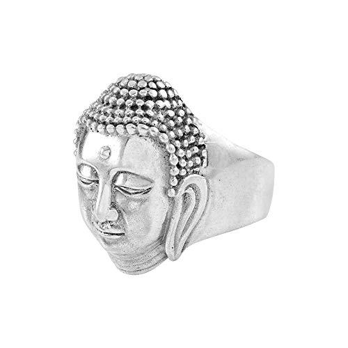 Anillo de Buda, plata de ley 925, anillo budista, anillo de la cara de Buda, anillo hecho a mano, anillo de promesa, anillo de banda ancha